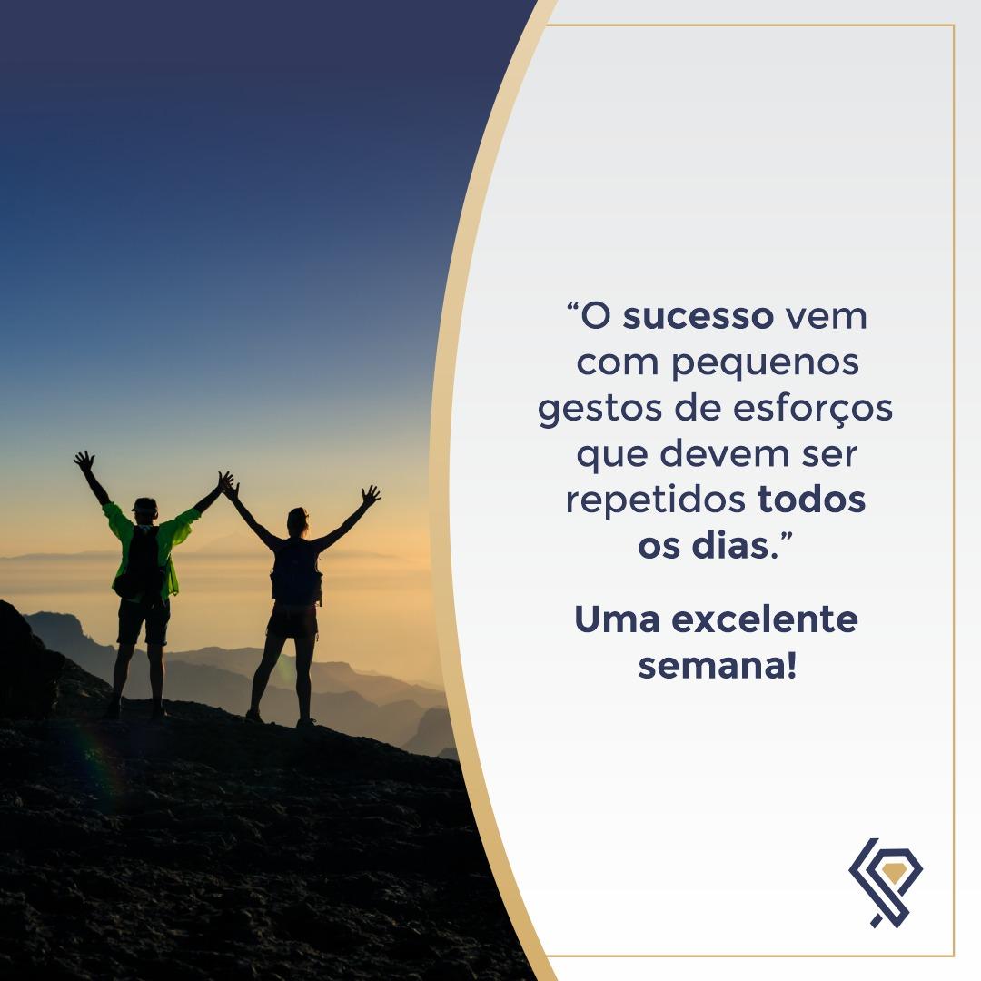 """""""O sucesso vem com pequenos gestos de esforços que devem ser repetidos todos os dias."""""""