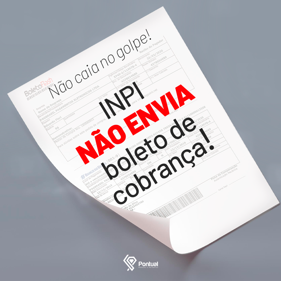 O INPI não envia boleto de cobrança